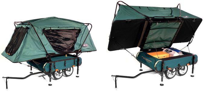 Kamprite Midget Bushtrekka Bicycle Opened Tent, Closed Tent